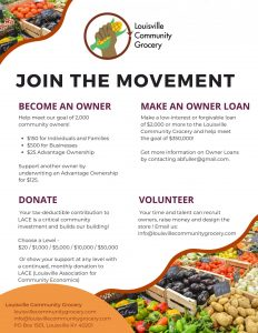 Capital campaign flyer showing 4 ways to support: Become an Owner / Make an Owner Loan / Donate / Volunteer